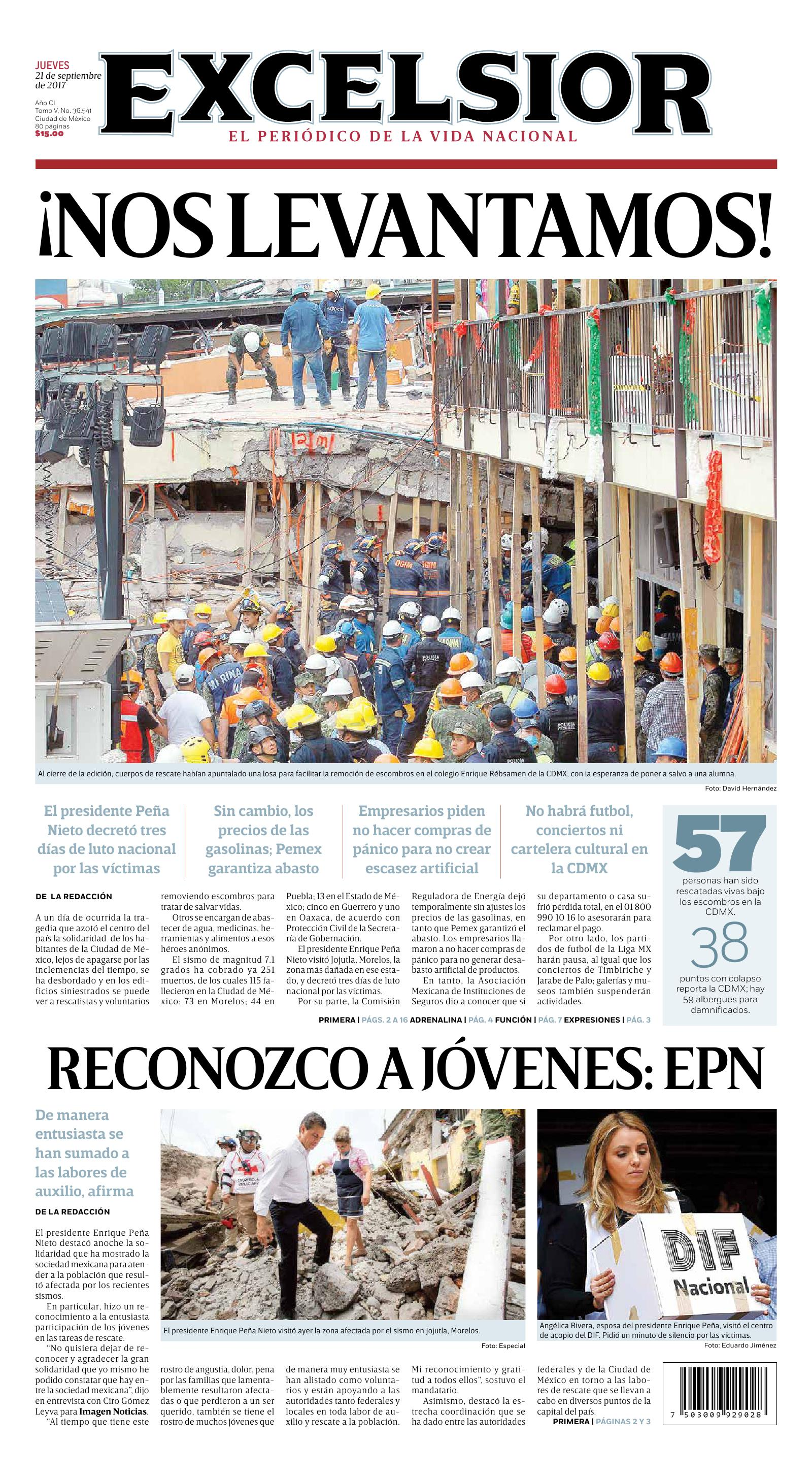 Mexican Red Cross >> Mexican earthquake: front pages tell the story | García Media